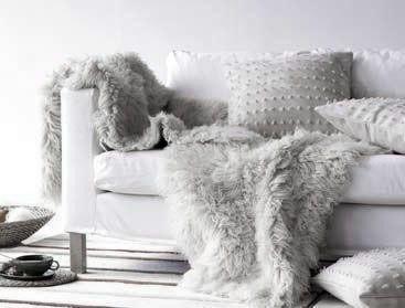Dove Gray Home Decor Modern White Sofa With Grey Faux Fur Throws