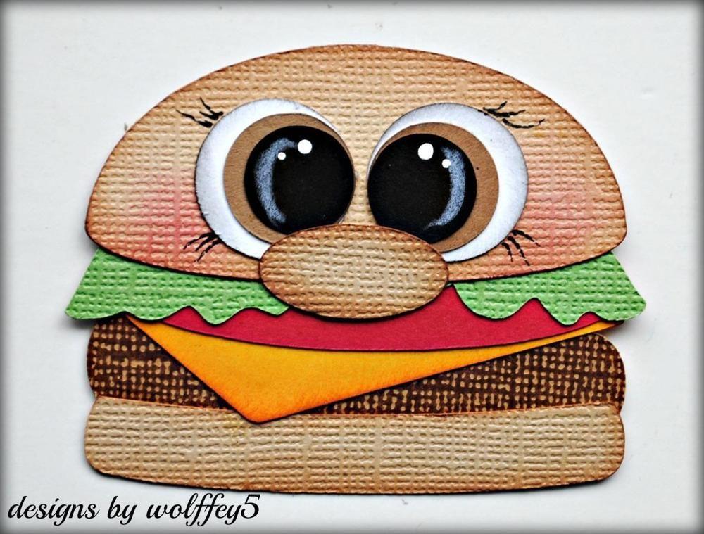 Craftecafe Food Hamburger Paper Pieced Premade Scrapbook Album Die