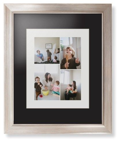 Overlap Photo Gallery of Four Framed Print, Metallic, Modern, Cream, Black, Single piece, 11 x 14 inches
