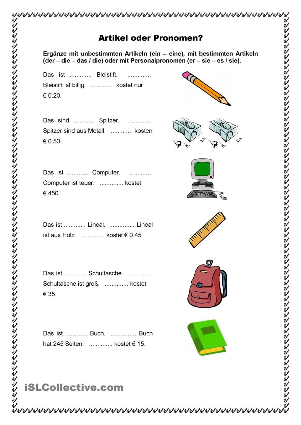 Artikel oder Pronomen? | Pinterest | German, Deutsch and Worksheets