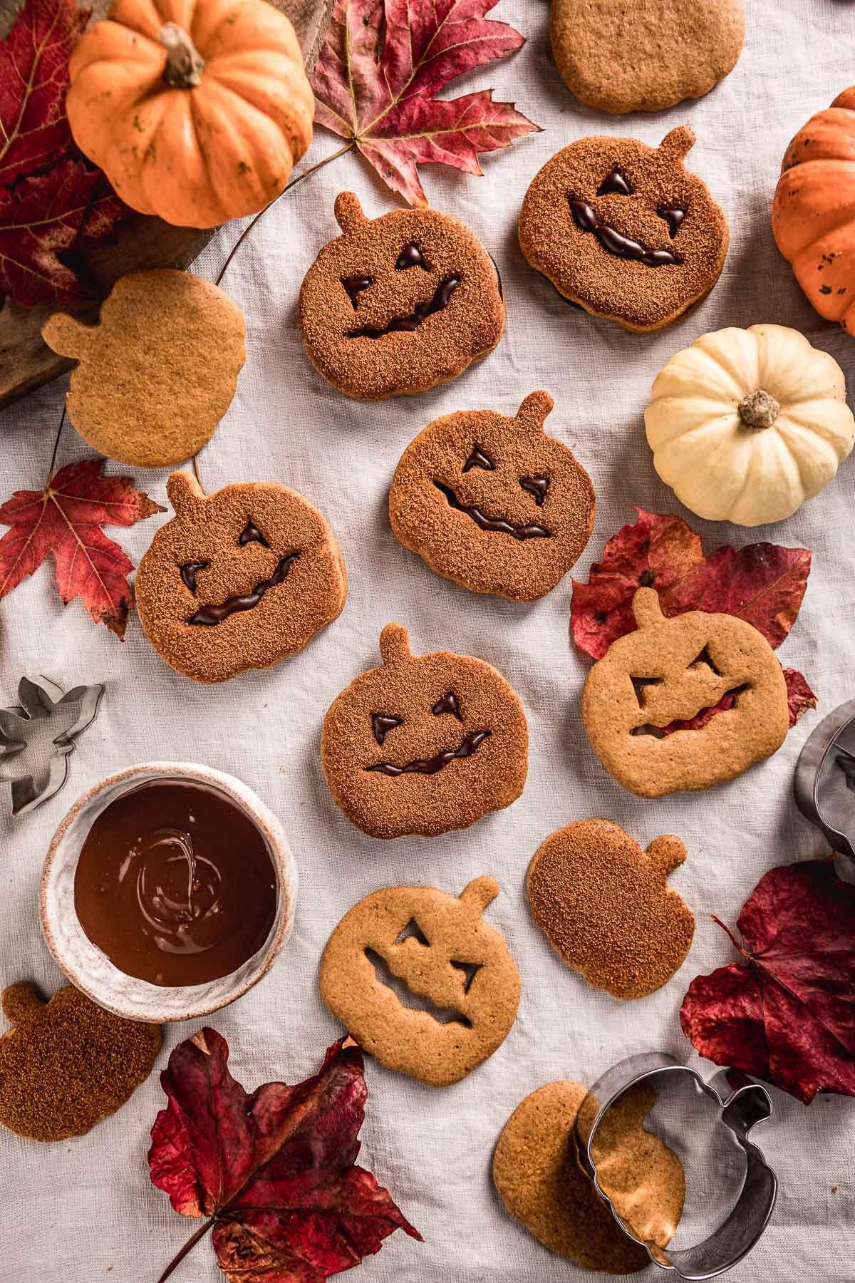 Healthy Vegan PUMPKIN cutout COOKIE recipe Halloween Idea