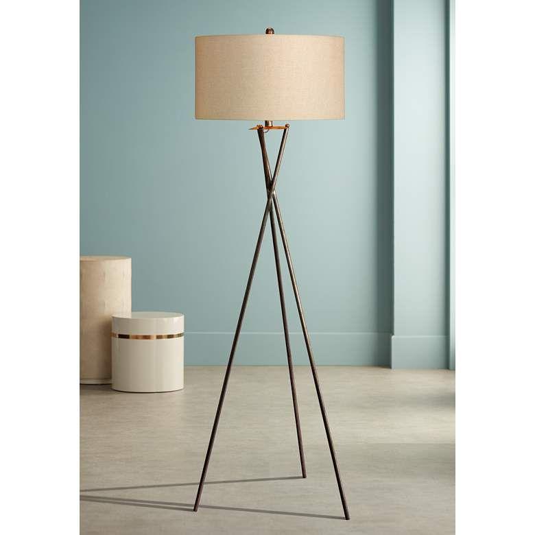Breslen Rusted Silver Tripod Metal Floor Lamp 37n90 Lamps