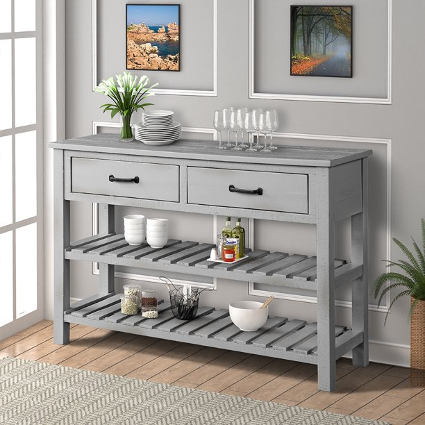 Urhomepro 45 Console Table Buffet Cabinet Sideboard For Entryway With Storage Drawers And 2 Bottom Shelf Entryway Table Accent Table Kitchen Storage Cabinet H In 2021 Kitchen Furniture Storage Kitchen Cabinet