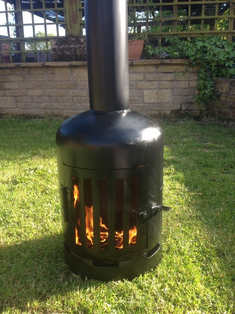 Gas Bottle Wood Log Burner Chiminea Patio Heater Fire Pit