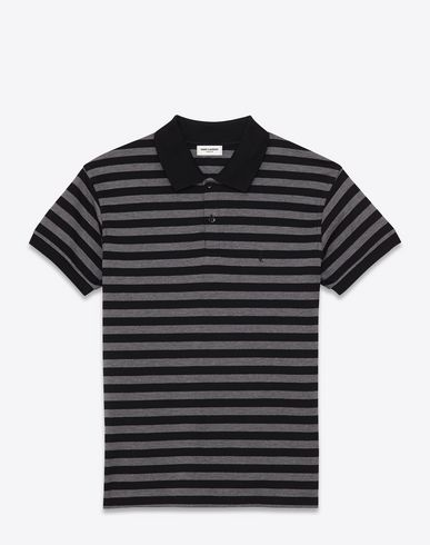 0fe77547144 SAINT LAURENT Classic Polo Shirt In Black And Heather Grey Striped Piqué  Cotton. #saintlaurent #cloth #