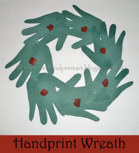 Handprint Christmas Wreath - Preschool Craft