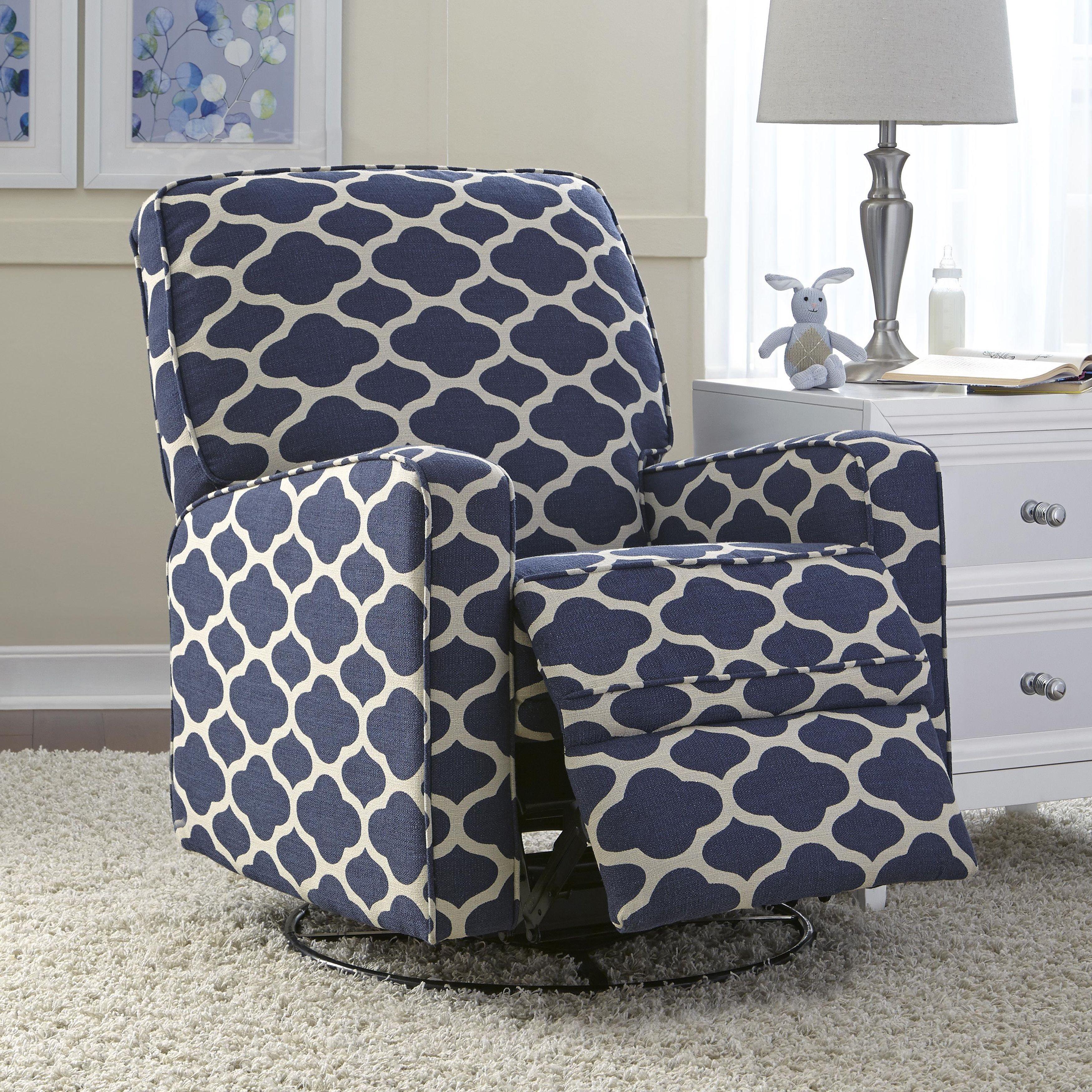 Furniture swivel and tub chairs dori fabric swivel cuddle chair - Leo Blue Nursery Swivel Glider Recliner Chair