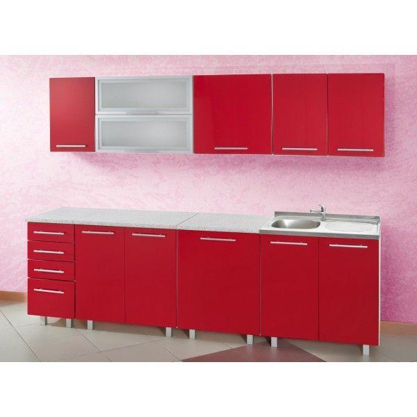 beau meuble de cuisine rouge pas cher d coration. Black Bedroom Furniture Sets. Home Design Ideas