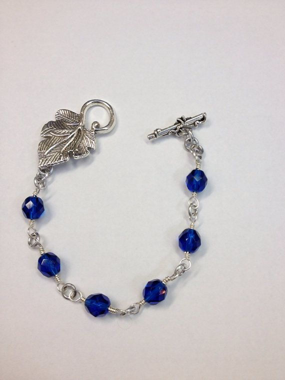Blue Grape Leaf Bracelet by SLAPDesigns on Etsy, $15.00
