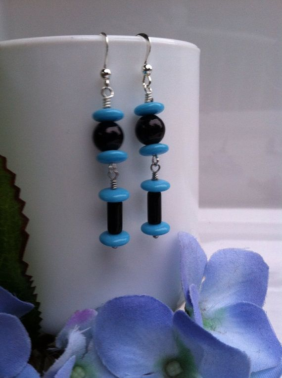 Black and Blue Earrings by ChristophersJewelry on Etsy, $9.95