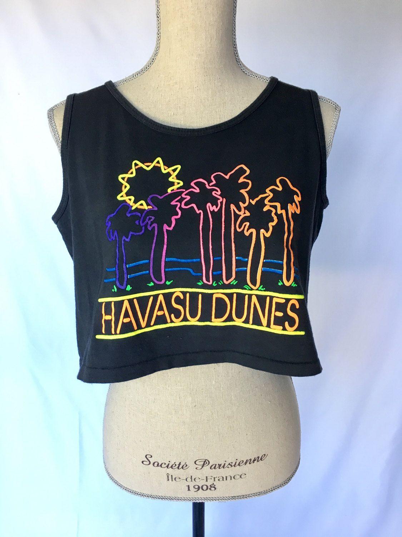 0a9d67fe453978 Vintage graphic tee Havasu Dunes 80s t-shirt shirt mens womens crop top  black neon palm trees sleeveless cotton oversized large rad festival by ...