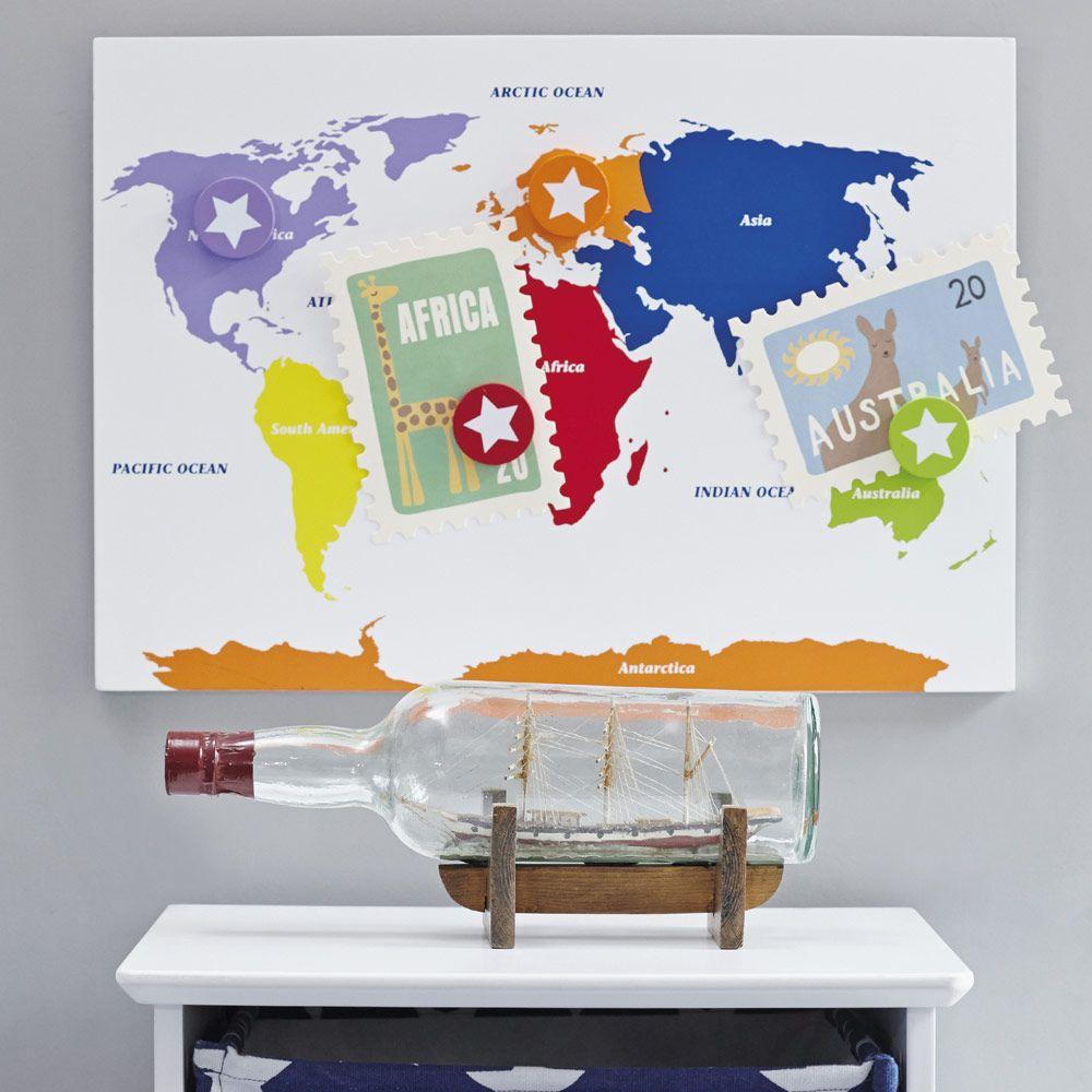 World Map Notice Board - Notice Boards & Frames - Bedding & Room ...