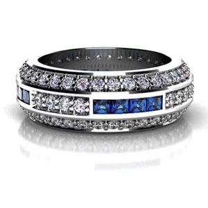 Mens Wedding Bands Custom Diamond and Princess Cut Blue Sapphire