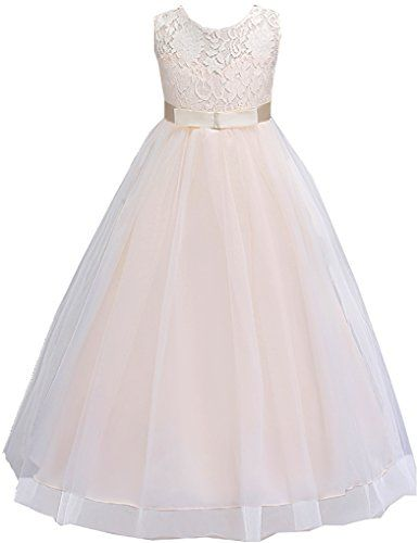 c035314b38 Shiny Toddler Little Big Girls Lace Crochet Wedding Bridesmaid Floor Length  Dress