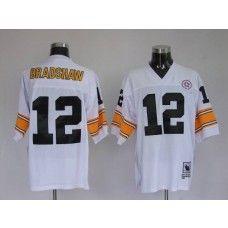 cb445944c Mitchell   Ness Steelers  12 Terry Bradshaw White Stitched Throwback NFL  Jersey