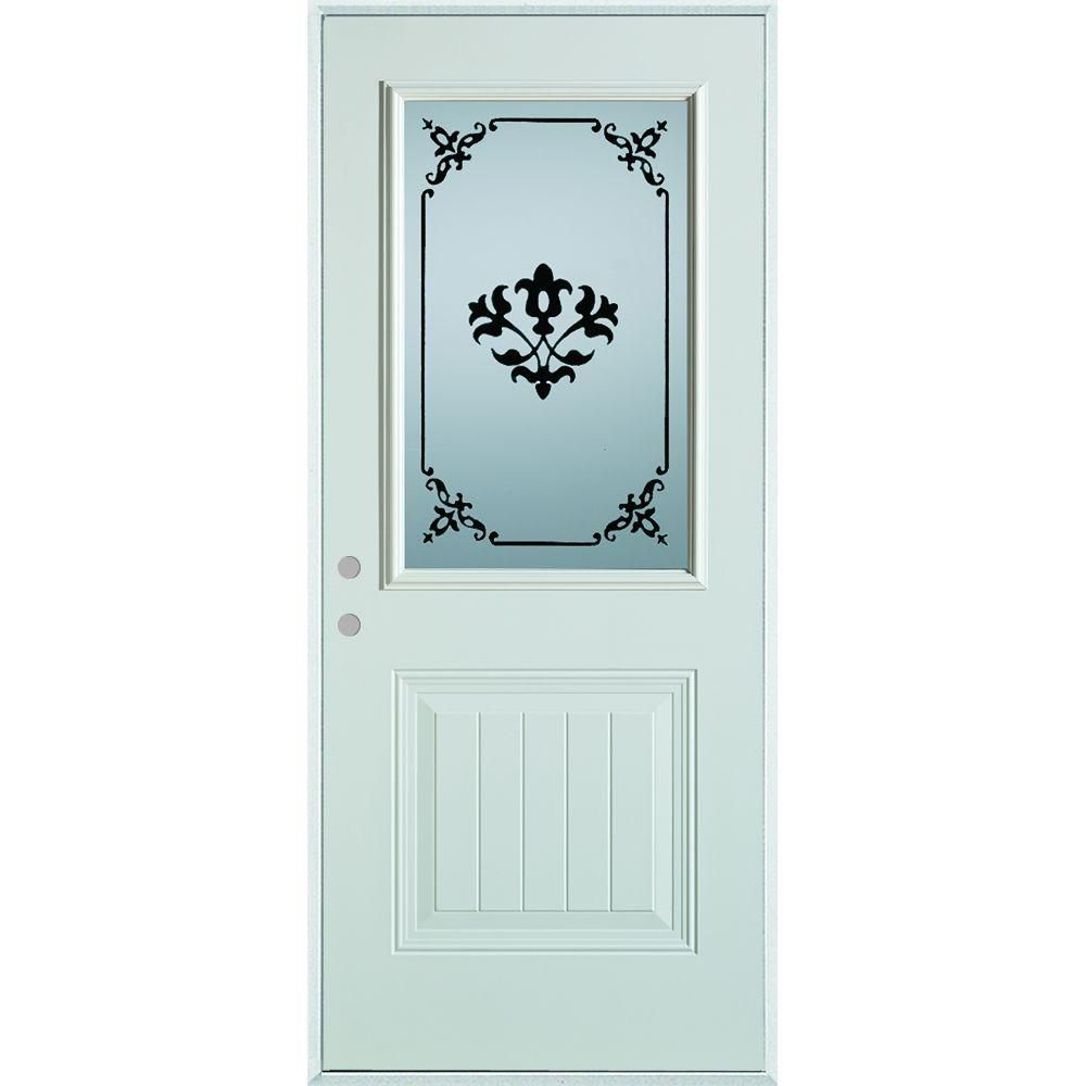 Stanley Doors 36 In X 80 In Silkscreened Glass 1 2 Lite 1 Panel Painted White Left Hand Inswing Steel Prehung Front Door 5010s C 36 L Decorative Hinges Modern Door Glass Collection