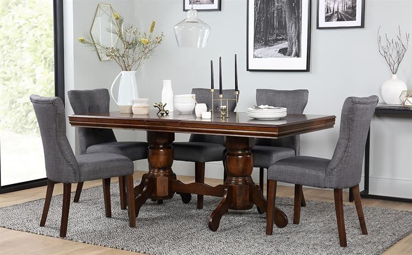Chatsworth Dark Wood Extending Dining Table - with 6 Bewley Slate Chairs images