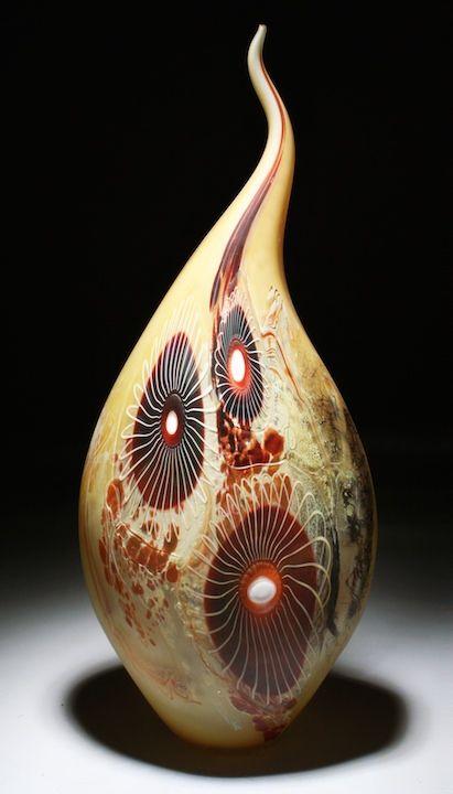 William Ortman Fire Citrine Spiral Blown Glass Vessel Vase