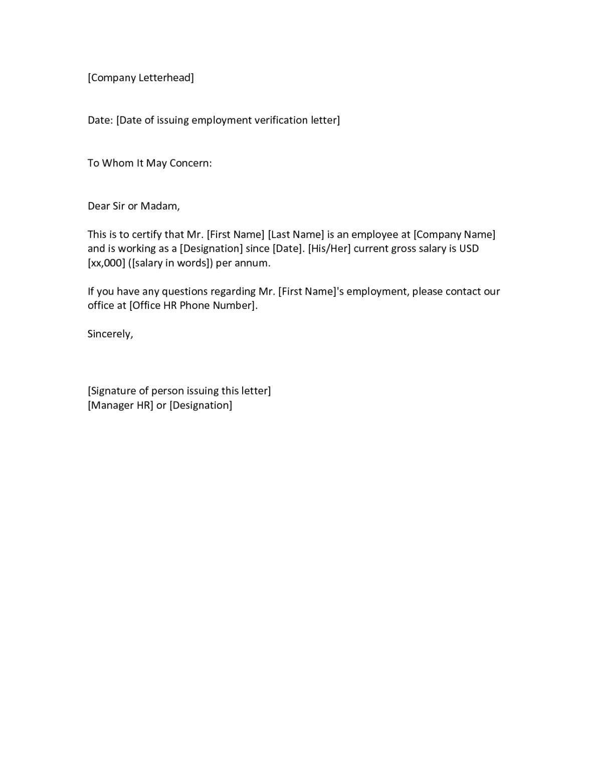 Verification Of Employment Template Morningperson Co In Employment Verification Letter Template Word Letter Template Word Lettering Letter Templates
