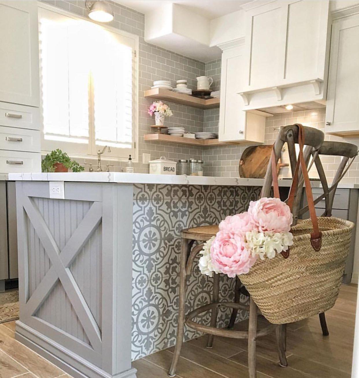 Gray And White Kitchen With Pretty Island Tile Accent Kitchen Remodel Kitchen Diy Makeover Small Kitchen Decor