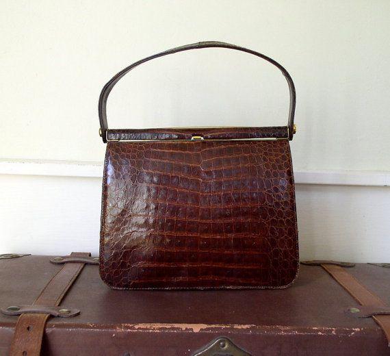 d81dafe034 WINTER SALE Vintage 1950 s Lady With The Alligator Purse   50 s Handbag    Escort Brown Lizard Leather Structured Bag