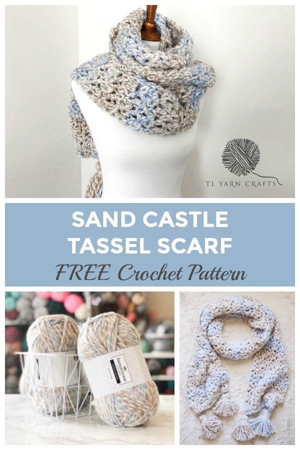 The Sand Castle Tassel Scarf, a FREE Crochet Tassel Scarf | Crochet ...