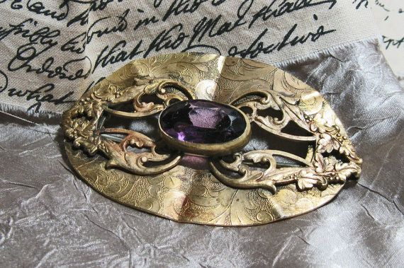 Vintage Victorian Sash Pin Amethyst and Brass by TheEclecticDiva on Etsy, $55.00