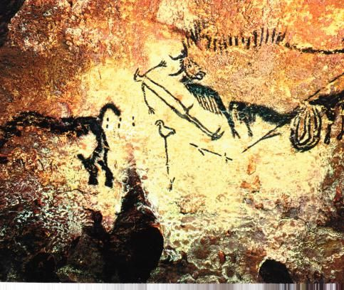 Cave painting at Lascaux, France, circa 15.000-10,000 BC. The shaman sends his soul to heaven while he lies as though dead (Lommel, 1966), as he hunts animal spirits of negotiates with the Mistress of the Animals. A number of factors indicate the shamanic nature of the composition. The artist has portrayed the shaman as his spirit helper (the bird-headed wand) at the moment of his transformation or shape-shift...