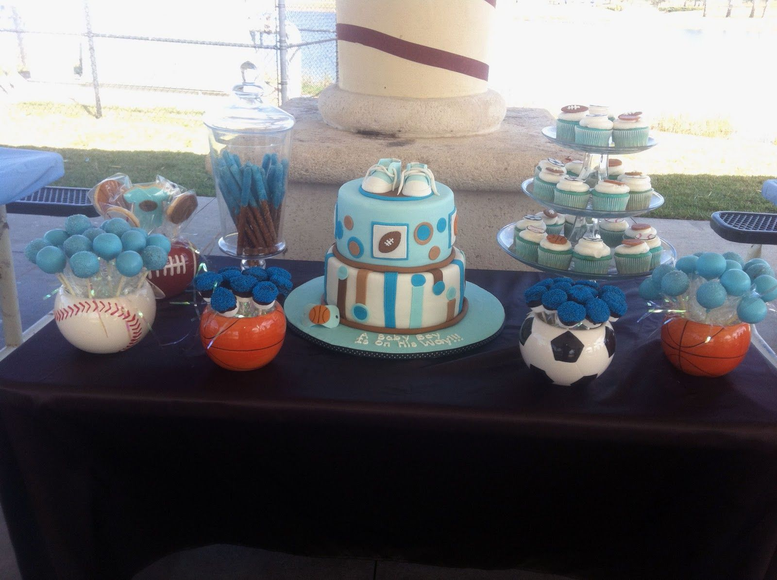 SPORTS THEMED BABY SHOWER | All Star Sports Theme Cake and Goodies