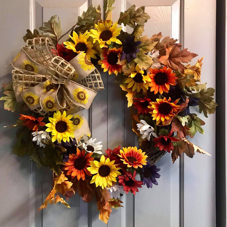 Photo of Autumn sunflower wreath, rustic grapevine wreath