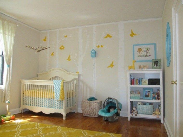 decorar paredes pajaros amarillos pjaros de beb