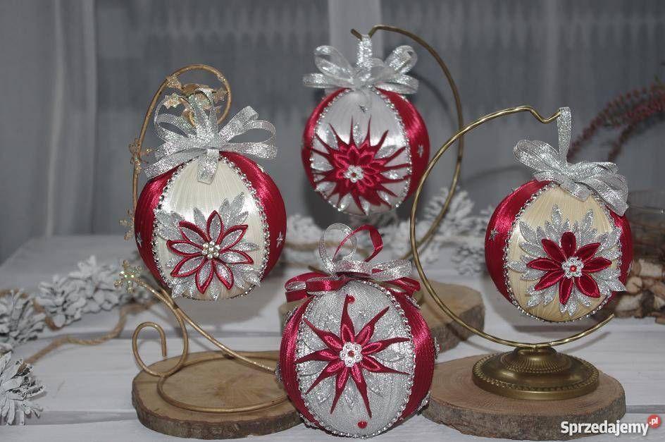 Bombki Ze Wstazki Kanzashi Handmade Rekodzielo Rzeszow Sprzedajemy Pl Fancy Christmas Ornaments Christmas Ornaments Fabric Flowers