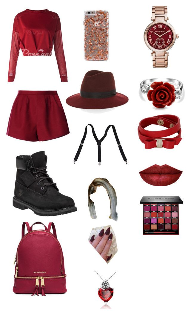 """""""dark red day"""" by hd24 ❤ liked on Polyvore featuring Timberland, MICHAEL Michael Kors, rag & bone, RED Valentino, Michael Kors, Bling Jewelry, Salvatore Ferragamo, Smashbox, women's clothing and women's fashion"""
