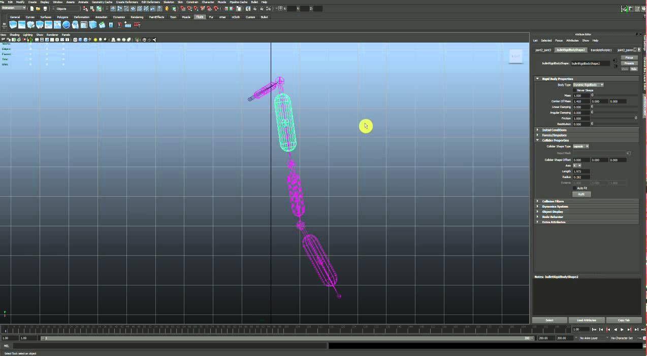 Maya Bullet Ragdoll Setup Tutorial | 3d | Maya, Animation
