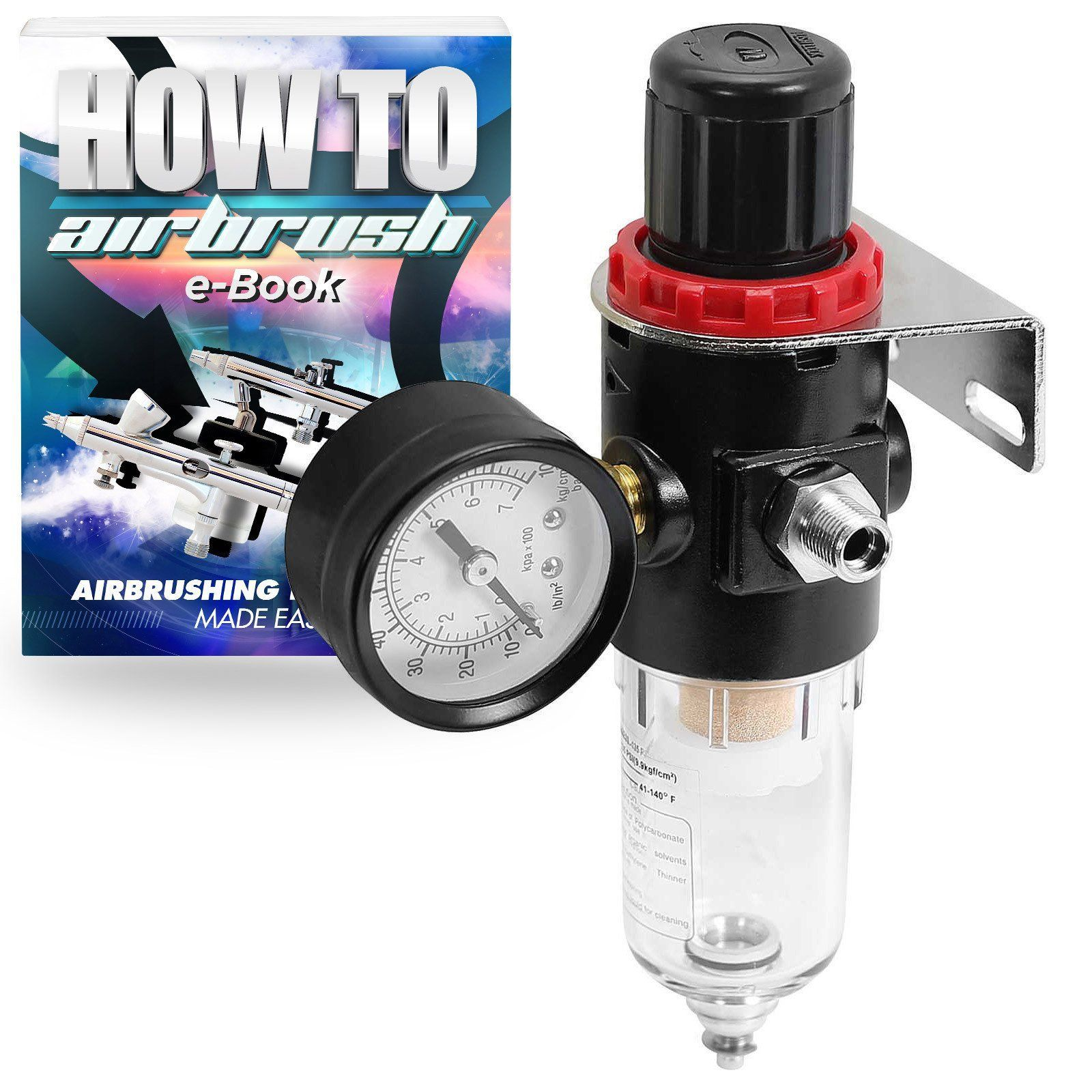 Airbrush Air Compressor Regulator with Pressure Gauge