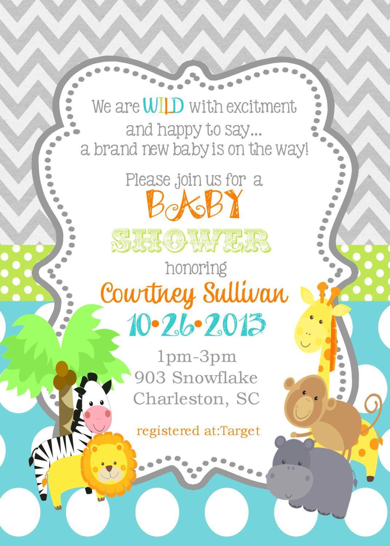 Jungle Animals Baby Shower Invitations Safari Animals Reserved For