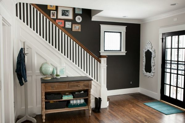 House Tweaking Stairs Feature Wall Black Accent Walls Staircase Wall Decor