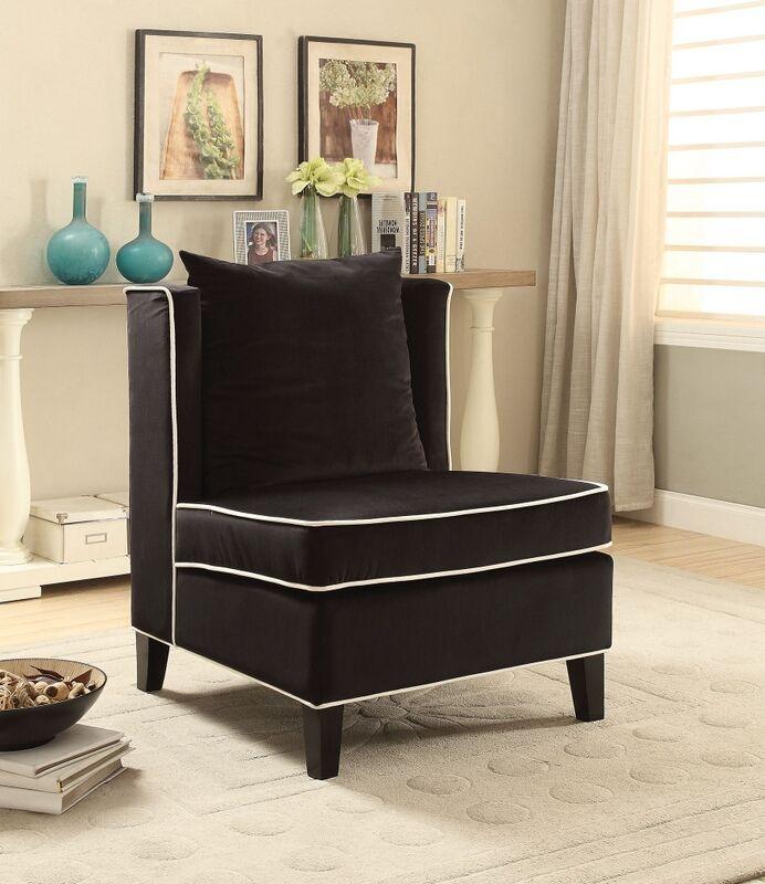 Best Acme 59576 Ozella Black Velvet Fabric Armless Accent Chair 640 x 480