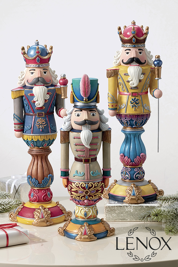 Add a colorful element to any gathering with our Merry & Bright nutcrackers. These whimsical pieces are sure to make a unique centerpiece for your holiday table or a charming mantel decoration.  #nutcracker #christmasdecorations #christmasdecor #holidaydecorations #holidaydecor #homedecor #lenox