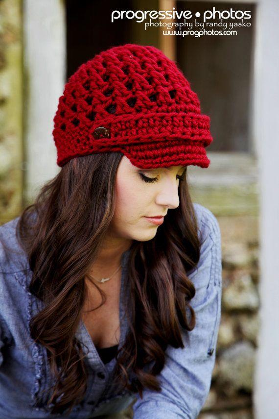 Crochet Newsboy Hat Girl Hat Newsboy with Strap Newsgirl   faixas e ...