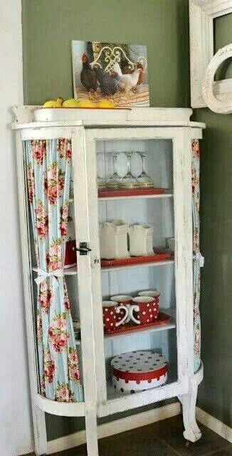 Curtains to replace broken curved glass. Cute idea ...