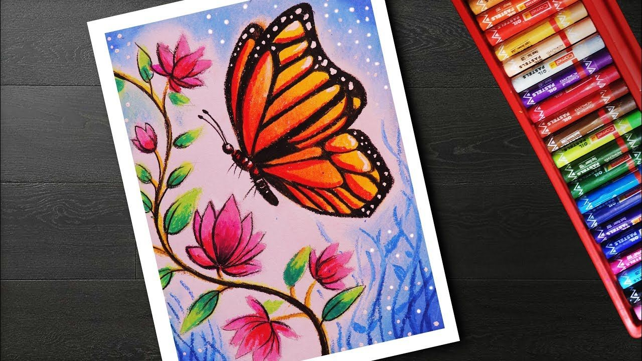How To Draw Easy Butterfly And Flower Scenery Drawing And Painting In 2020 Oil Pastel Art Oil Pastel Drawings Butterfly Drawing
