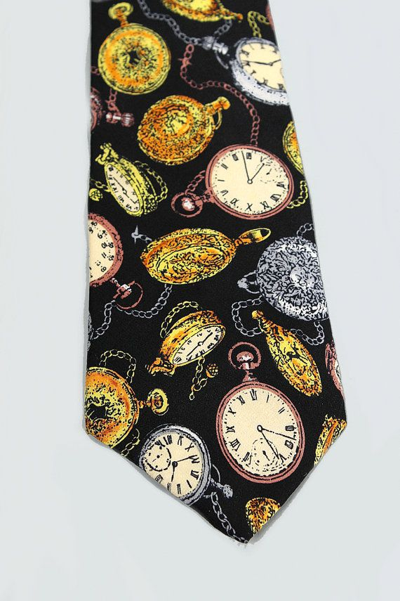 562de586854 Time Lord Clock Print Tie Pocket Watches Silk Neck tie Victorian Clocks  Gears Black Steam Punk Men's Ties & Accessories AVAILABLE NOW ON ETSY!