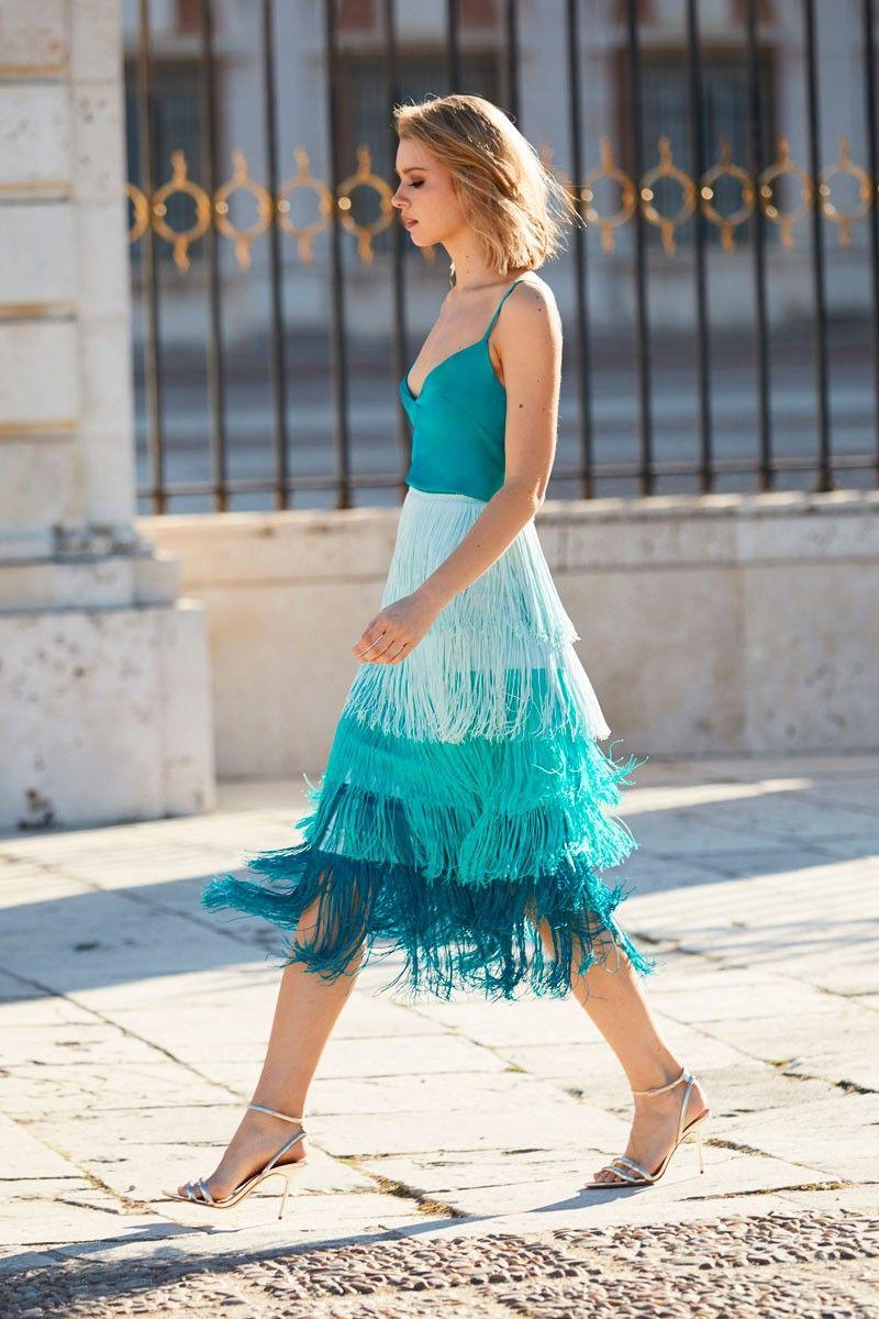 f04278261 Falda Flecos Degradada Elina en 2019 | Fashion | Faldas, Vestido con ...