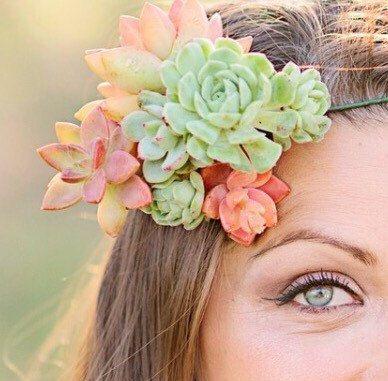 Succulent Bella Crown, floral Crown, bride's crown, wedding crown, hair accessory, bohemian, floral crown, bride maid crown, hair wreath, pr