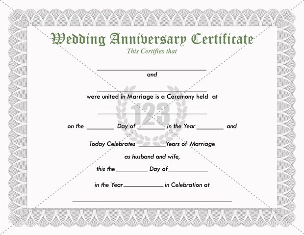 Precious Wedding Anniversary Certificate Template Free Download - blank gift certificate template word