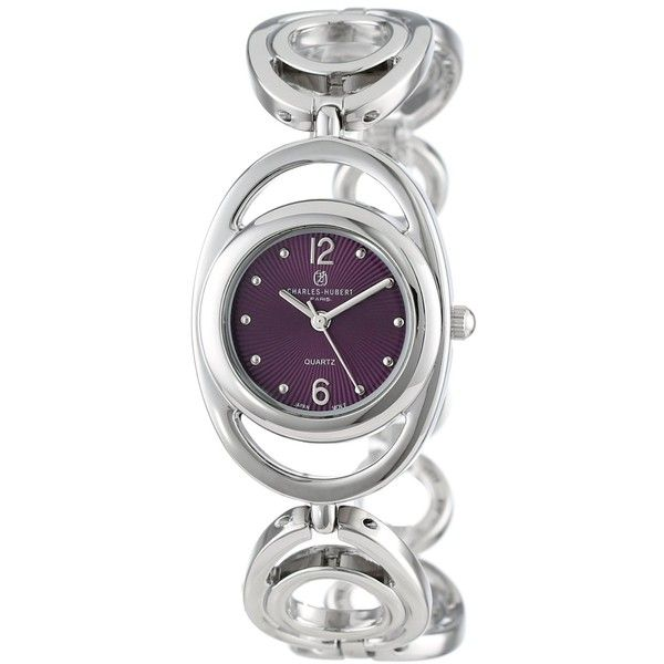 Charles-Hubert, Paris Classic Collection Chrome Finish Purple Sunray... ($84) ❤ liked on Polyvore featuring jewelry, watches, purple watches, water resistant watches, charles hubert, charles hubert watches and dial watches