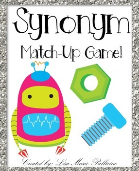 Your students will enjoy learning new synonyms with this Robot themed matching game! Students can play individually, in a group or with the teacher! Included are directions, an answer key, 18 synonym matches (26 word cards total) and a recording sheet!Please rate, follow and enjoy!