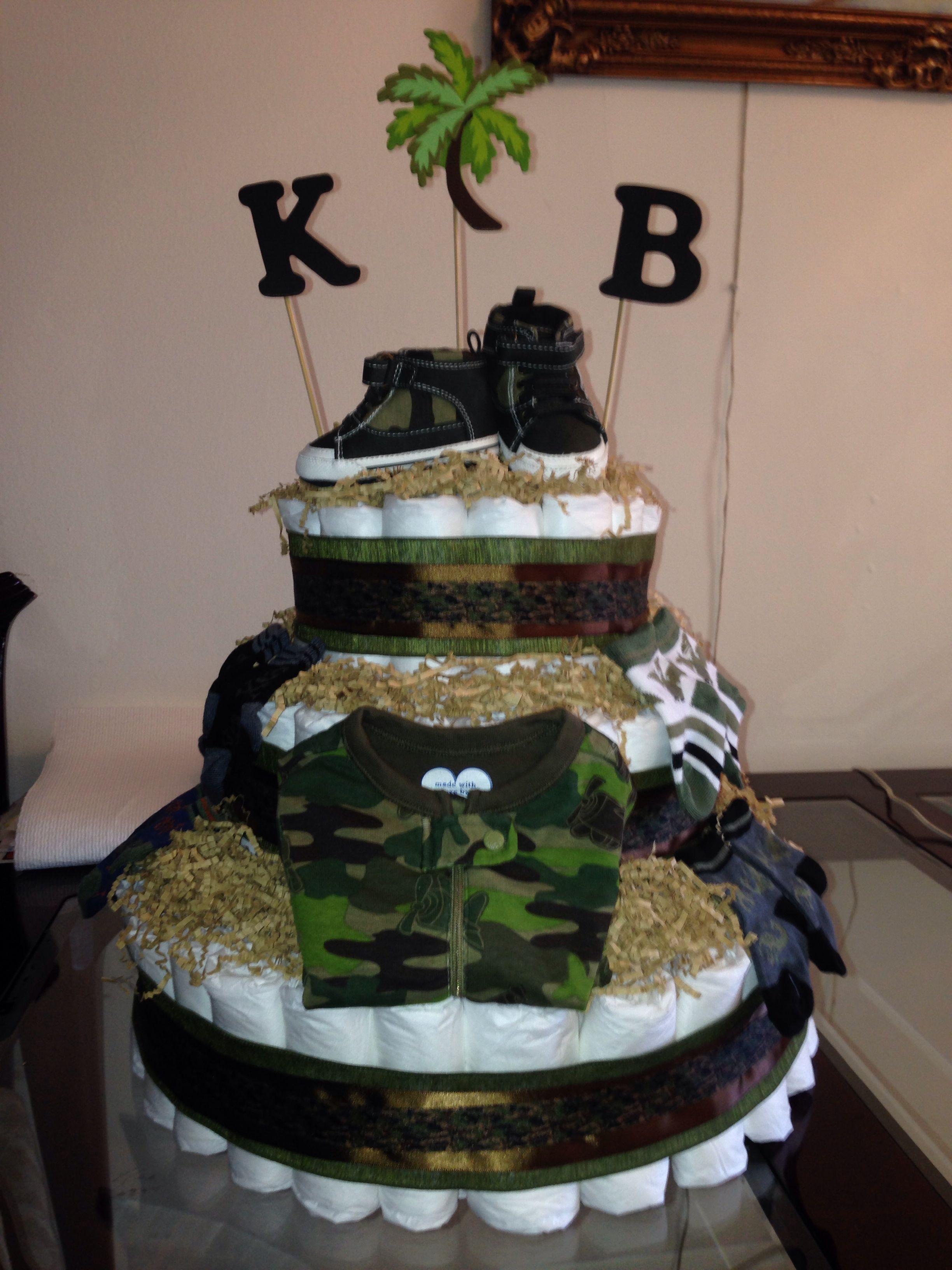 Army Camo Diaper Cake Camo Baby Shower Decorations Baby Shower