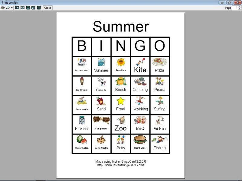 Free Printable Summer Clip Art | View Document | Summer Bingo Cards ...